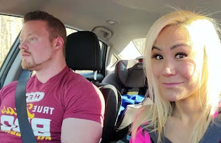 Miki Sudo clicking selfie with boyfriend while sitting in car
