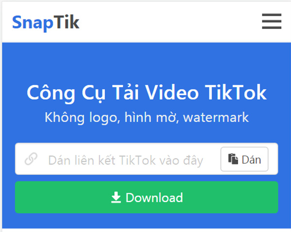 SnapTik App - Tải video tiktok không có logo miễn phí a