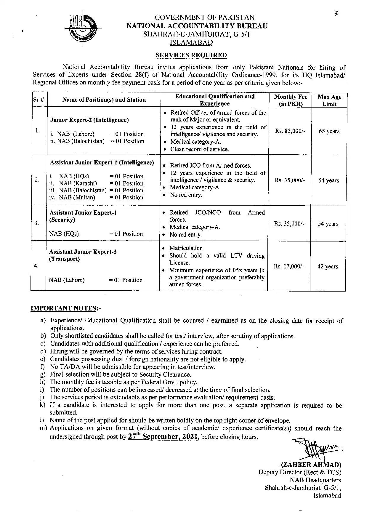 National Accountability Bureau NAB Jobs 2021-Application Form