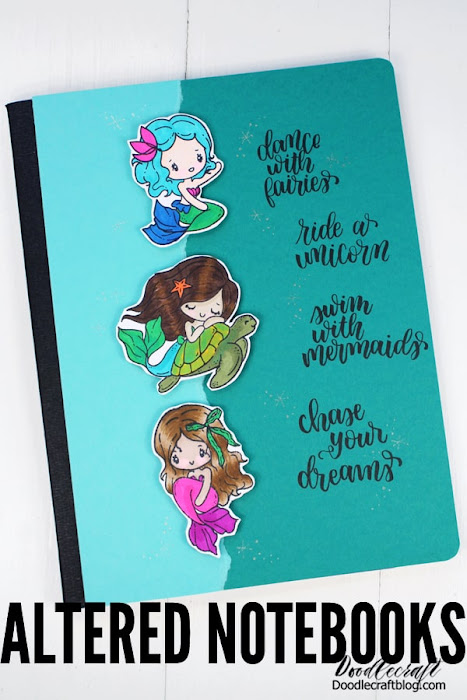 DIY Altered Notebooks with The Greeting Farm Stamps! Upcycle a regular old composition book into a gorgeous notebook with rubber stamped images and hand lettering.