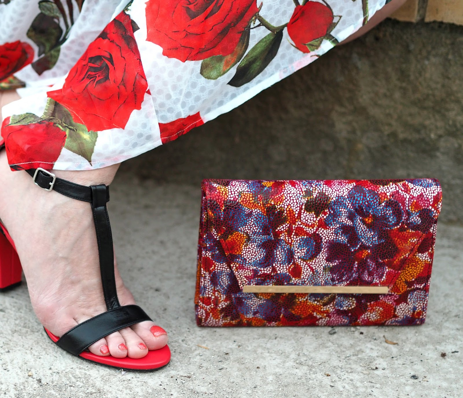 Alice's Pig White and red floral rose draped midi dress with red and black high-heeled sandals style over 40 leather multi-floral clutch bag