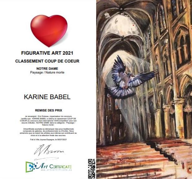 Karine Babel a obtenu le classement coup de coeur pour sa peinture Notre Dame