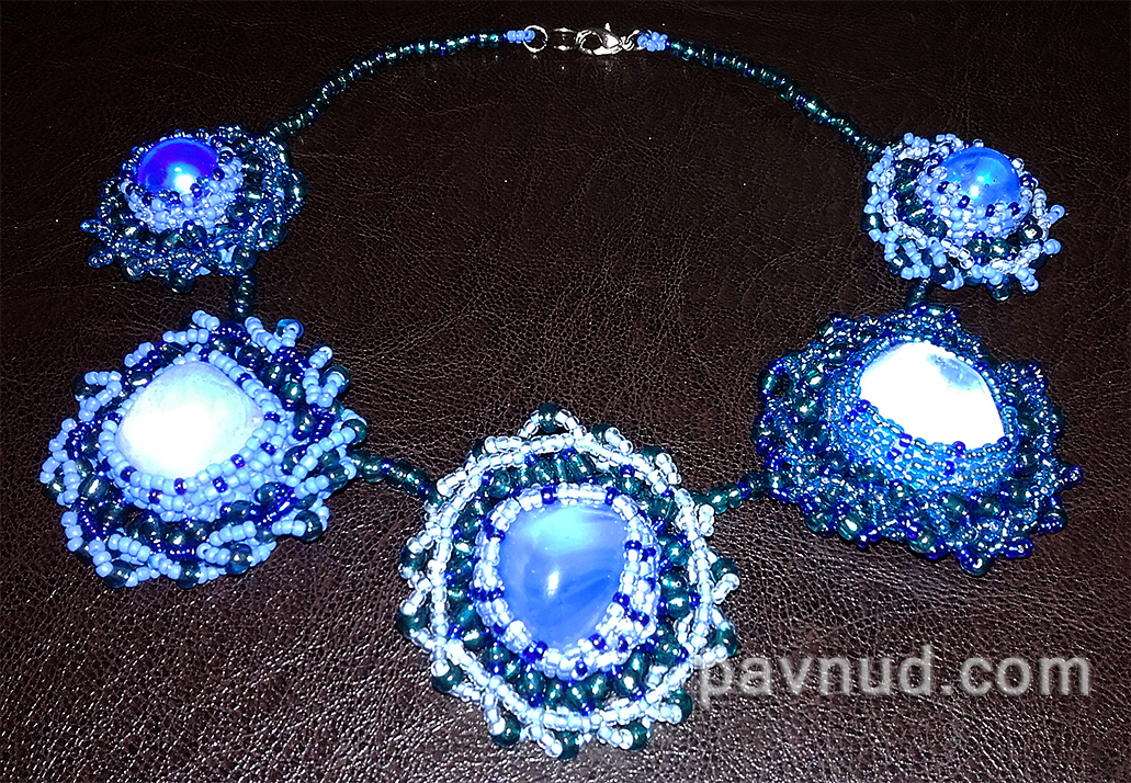 Blue Necklace Of Seed Beads And Glass Stones
