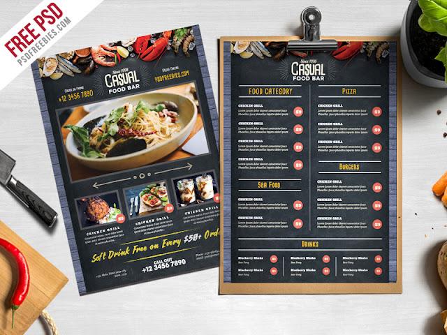 menu de restaurante muy sencillo