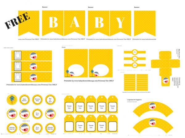 Kit para Baby Shower de Pajarito Rosa en Fondo Amarillo para Imprimir Gratis.