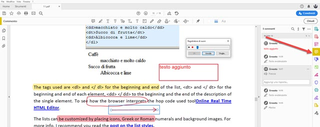 commenti in adobe reader