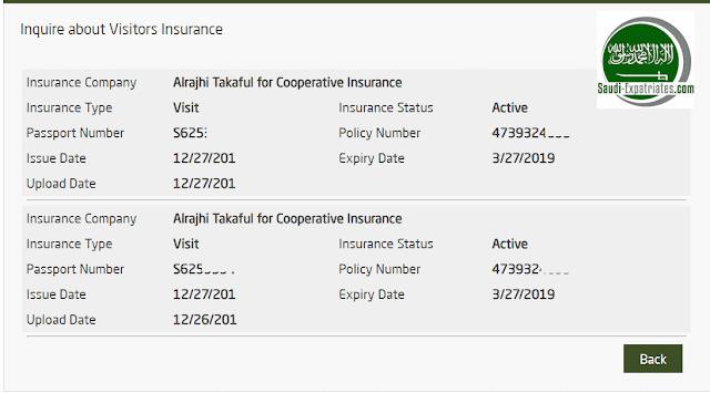 CHECK VALIDITY OF HEALTH INSURANCE FOR VISIT VISA IN SAUDI ARABIA