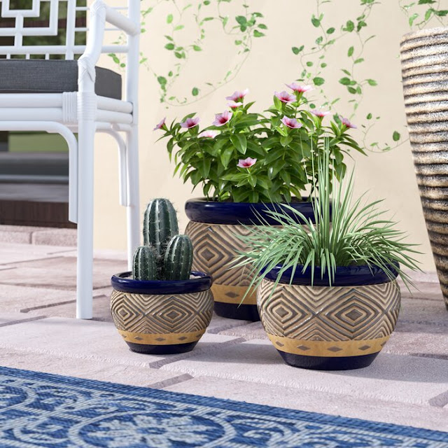 3-Piece Ceramic Pot Planter Set