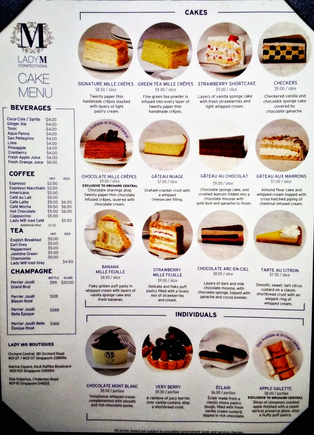 Cream Cake Cake Menu