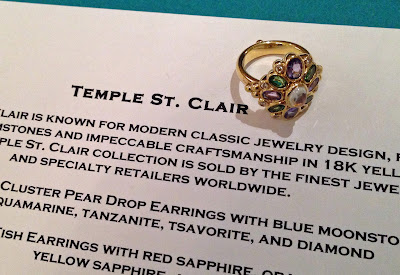 Temple St. Clair gold cluster ring with blue moonstone, tanzanite, tsavorite, and diamond. Via Diamonds in the Library.