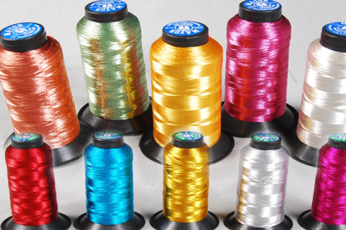 Image of colorful metallic threads