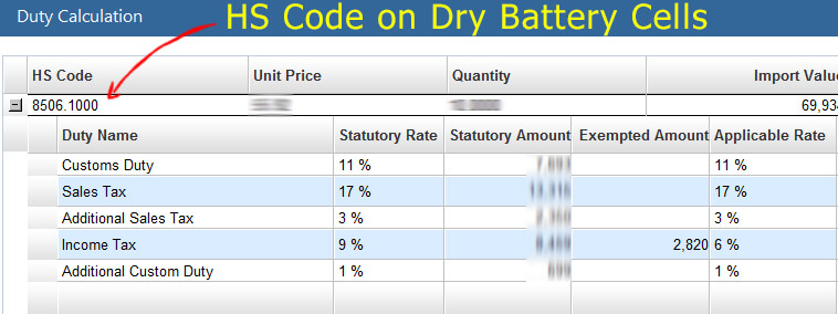 HS Code on Dry Battery Cells in Pakistan