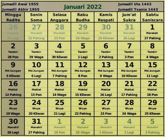 download kalender januari 2022