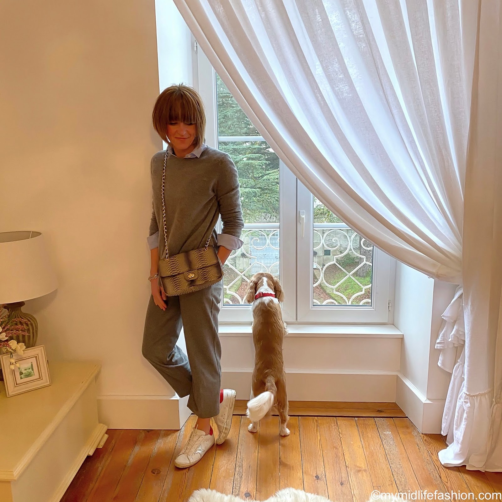 my midlife fashion, sezane tomboy shirt, Zara crew neck oversized cashmere jumper, marks and Spencer wool cropped trousers, golden goose superstar low top leather trainers