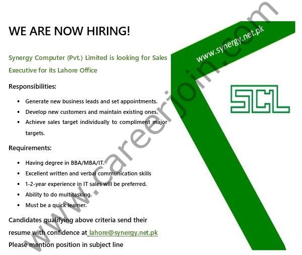 Synergy Computers Pvt Ltd Jobs 2021 in Pakistan