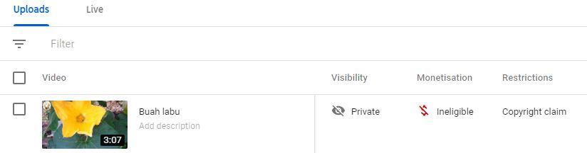 cara nak tahu video terkena copyright claim