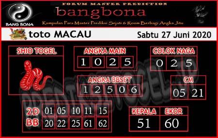 Prediksi Toto Macau Bangbona Sabtu 27 Juni 2020
