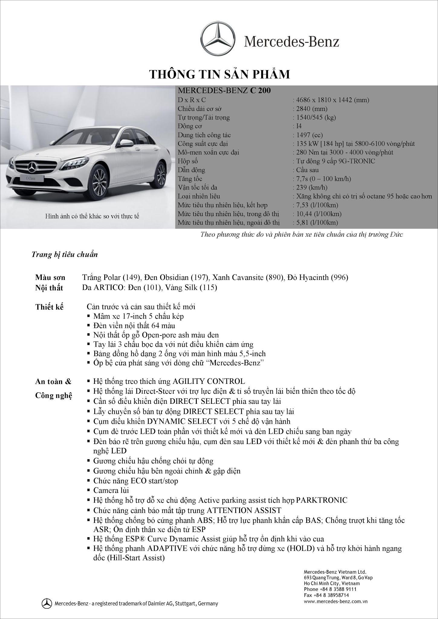 Bảng thông số kỹ thuật Mercedes C200 2019 tại thị trường Việt Nam