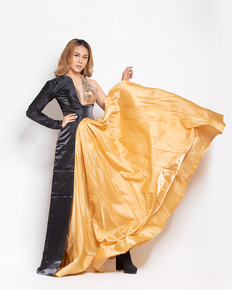 Sharr Htut Eaindra in Asymetry Sexy Dress Gold Black Colour