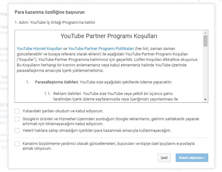 YouTube İş Ortağı Programı şartları