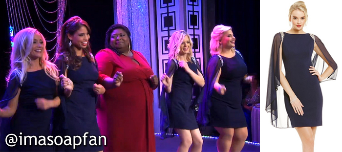 Lulu, Valerie, Maxie, and Amy's Navy Blue Cape Dresses at the Nurses Ball - General Hospital, Season 54, Episode 05/26/16