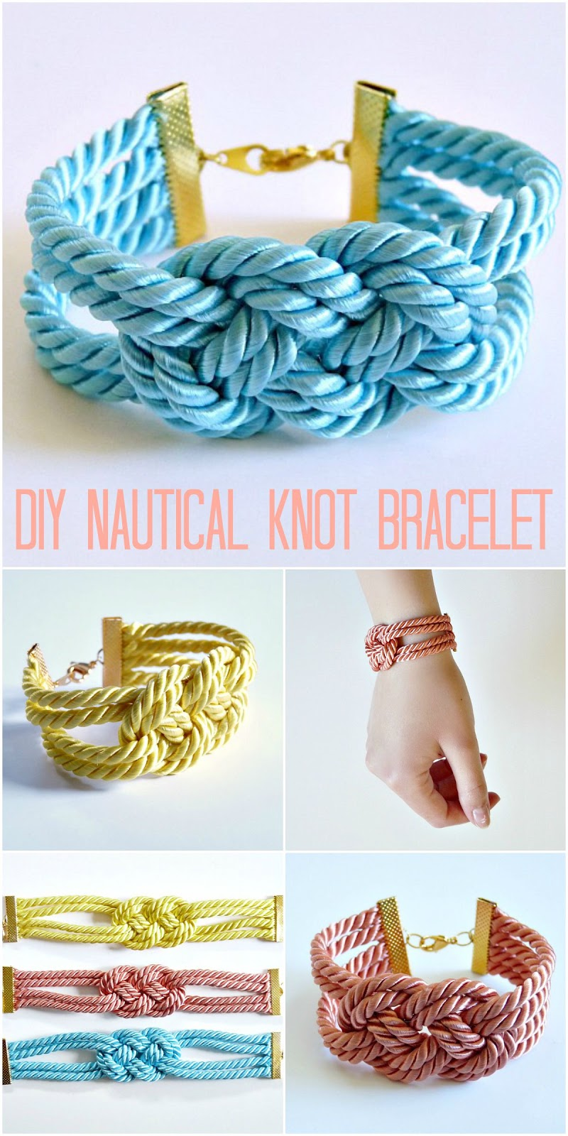 How to make a knotted satin cord bracelet - nautical, colorful