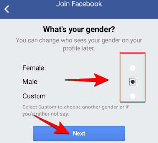 select your gender and click next
