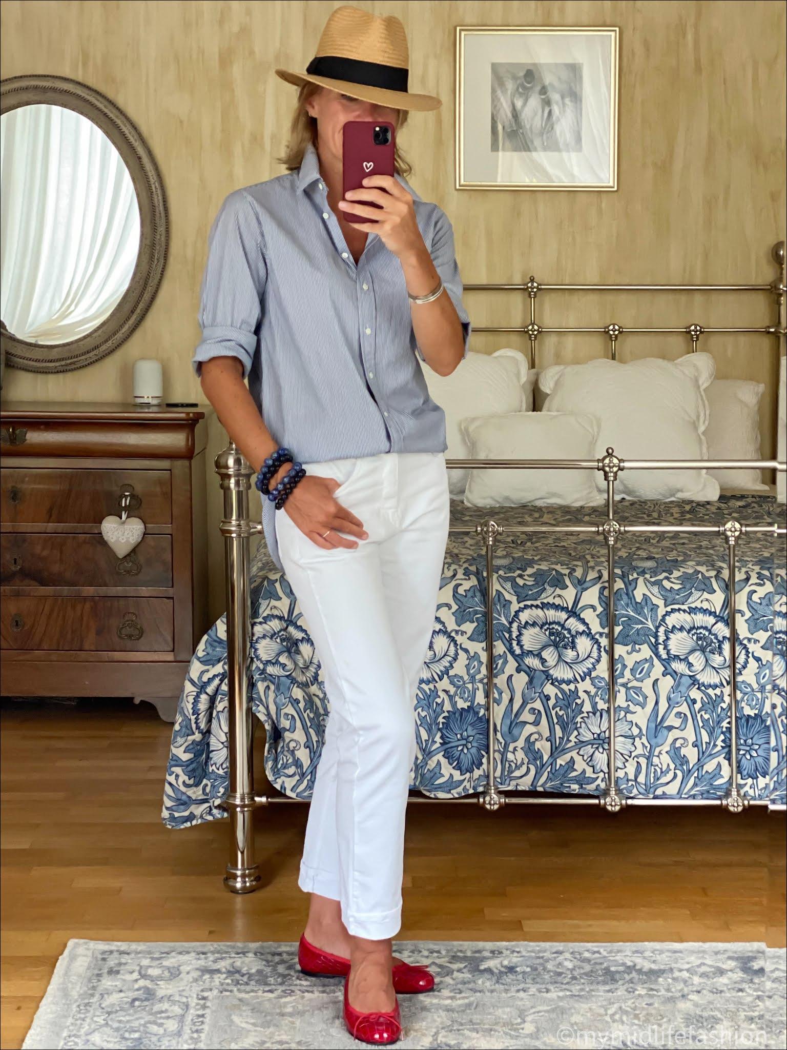 my midlife fashion, Baukjen the organic boyfriend jean, h and m Panama hat, Jospeh stripe oversized shirt, French sole Henrietta ballet pumps