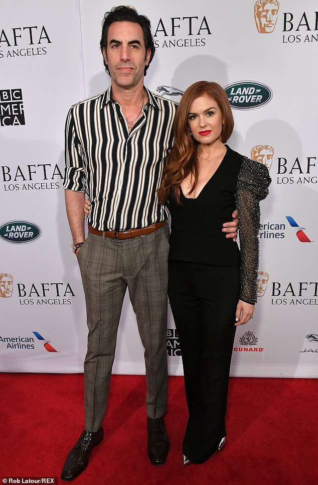 Isla Fisher puts on a stunning display in black with husband Sacha Baron Cohen at BAFTA party in LA