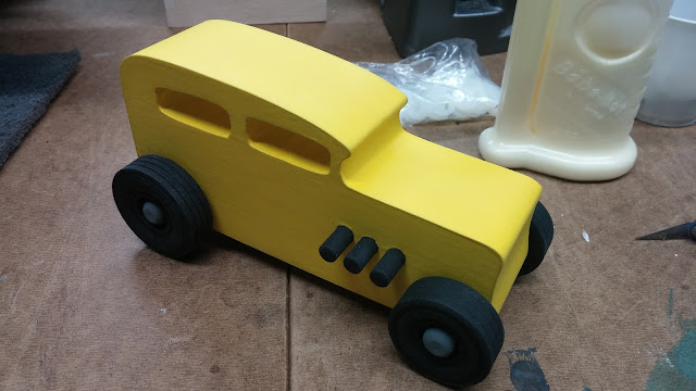 20151218_103208 Wood Toy Car  - Hot Rod Freaky Ford - 32 Sedan - MDF - Brushed Yellow Acrylic Craft Paint - Black Wheels - Gray Hubs - Odin Christmas
