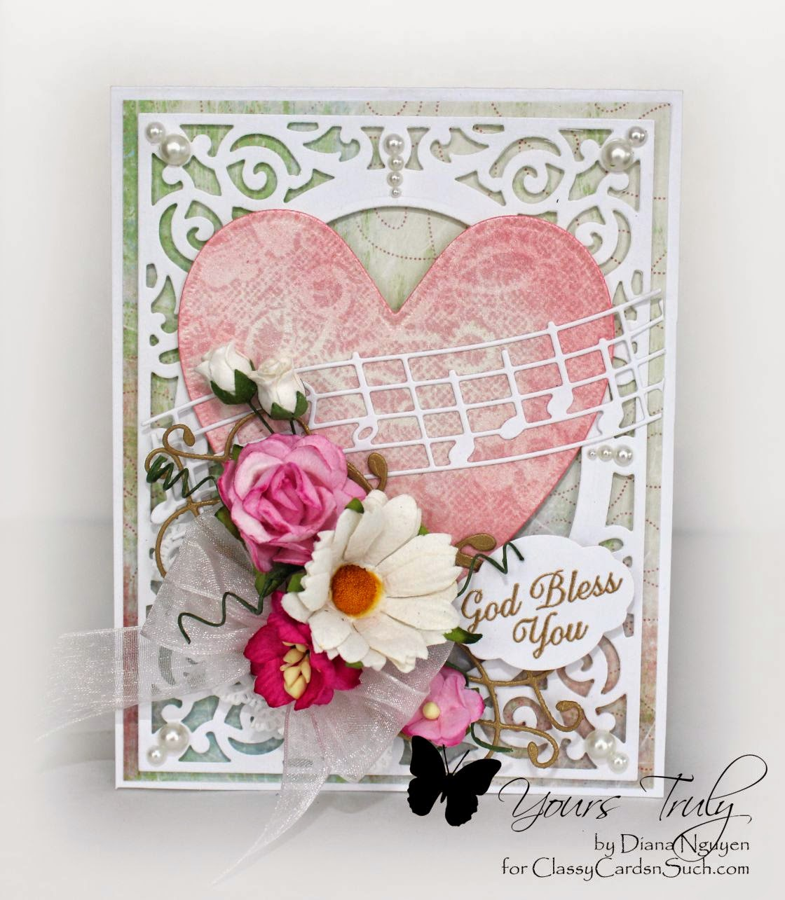 Diana Nguyen, Our Daily Bread Designs, music, Vintage Filigree Die, shabby chic, wild orchid flowers, Memory Box, Almira Flourish