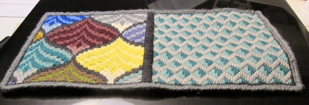 sqaure needle book worked on canvas, yellow, pink, burgundy, blue, cream, purple