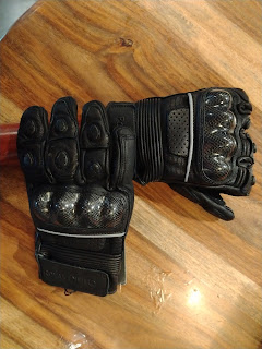Royal Enfield Black Leather Protective Riding Gloves for Men