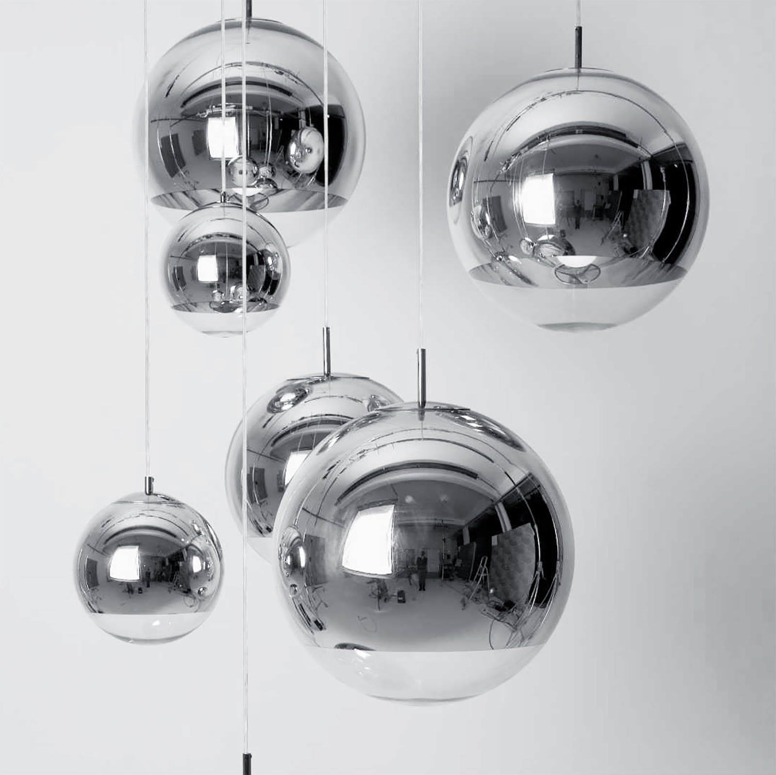 Mirror ball pendant chrome lamp, tom dixon, mister design