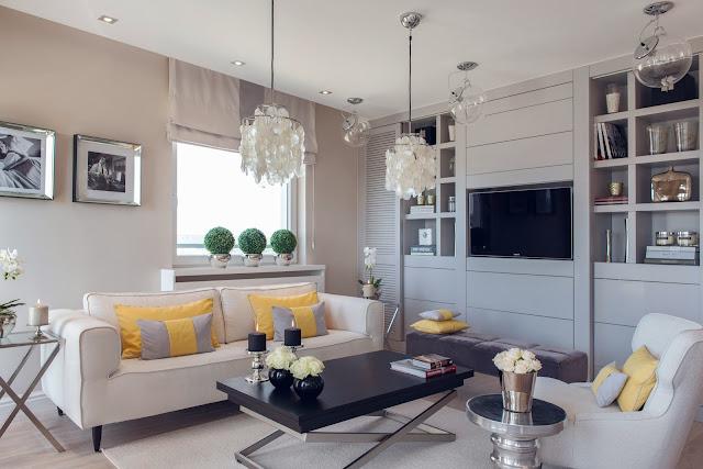 Apartamento clean, decoração requintada com toques de amarelo. Blog Achados de Decoração