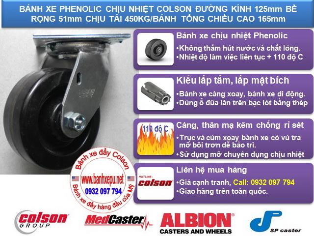 Bánh xe Phenolic chịu nhiệt càng xoay 5 inch Colson Mỹ | 4-5109-339 www.banhxeday.xyz