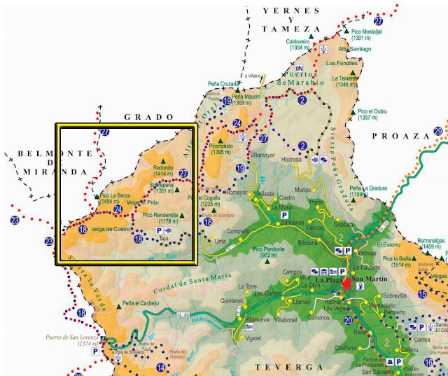 Localización ruta dentro del Parque Natural de Ubiñas-La Mesa