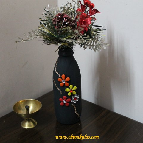 Making A Decorative Flower Vase From Waste Glass Bottle