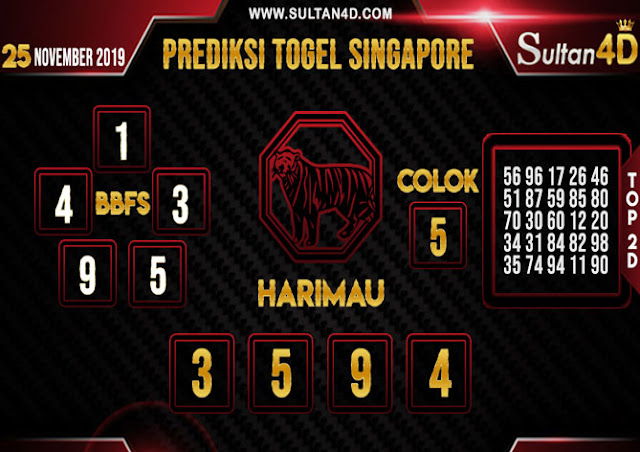 PREDIKSI TOGEL SINGAPORE SULTAN4D 25 NOVEMBER 2019