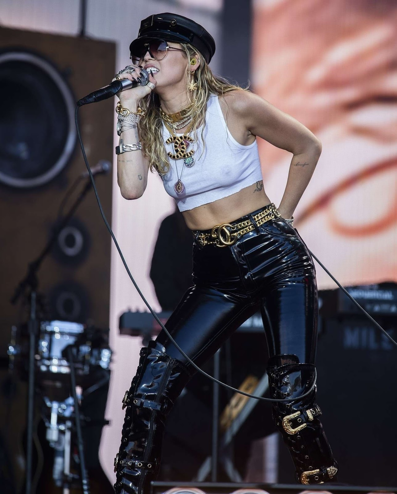Miley Cyrus Performing Braless on the Pyramid Stage at Glastonbury Festival