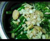 Garlic, ginger, green chili, mint, coriander and spinach in a mixing jar to make hariyali paste