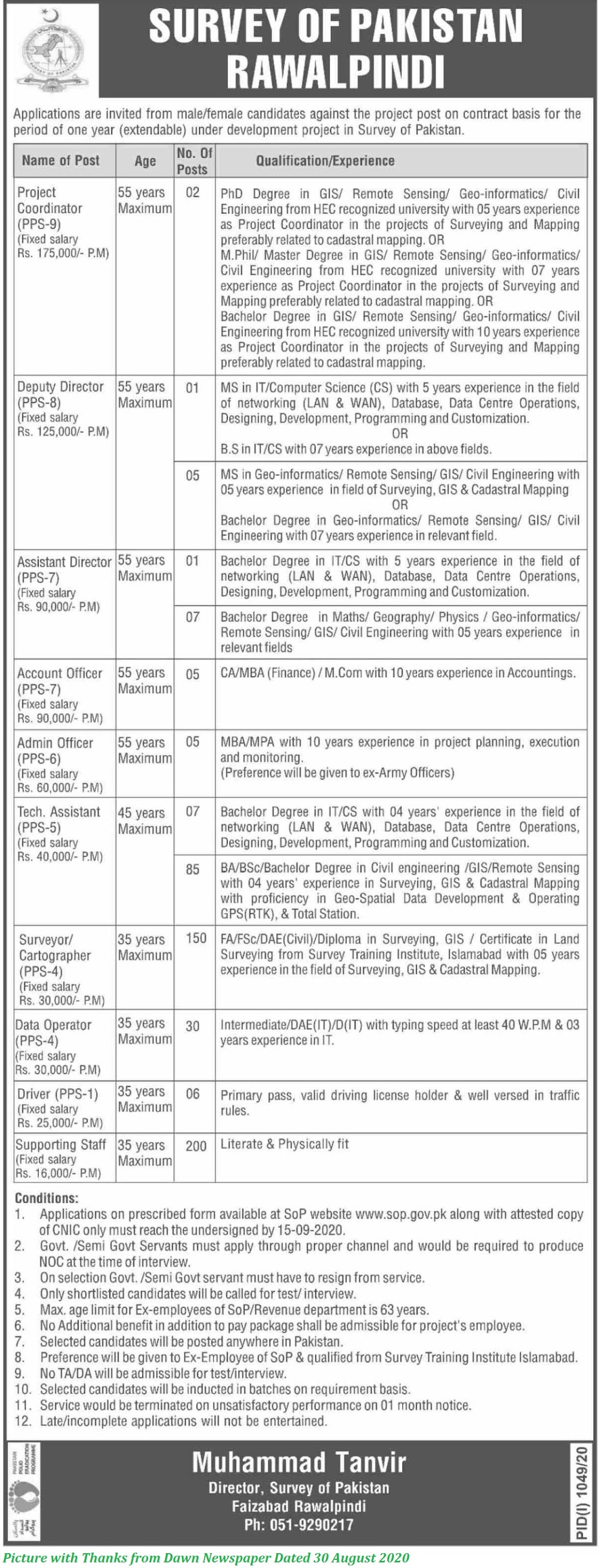 Survey of Pakistan Jobs 2020 - Latest Federal Govt Jobs 2020 in Survry of Pakistan 500+ Posts Announced