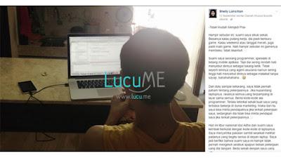 Curhatan Isi Hati Istri dari Seorang Programmer Ini Viral di Media Sosial
