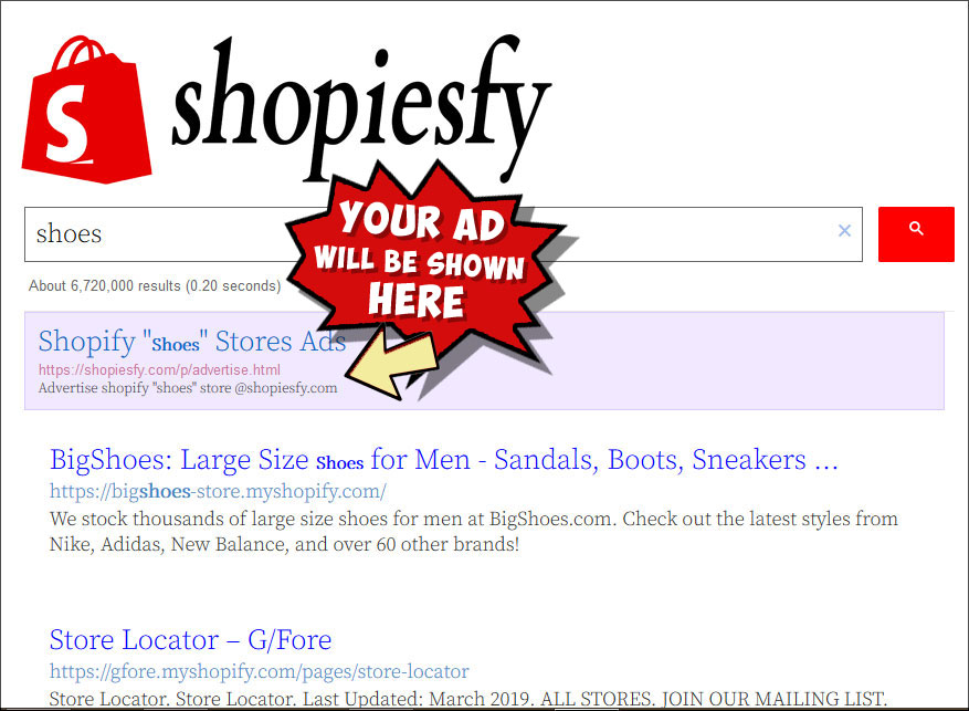 advertise on shopiesfy.com a shopify stores search engine