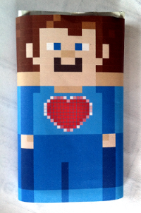 Minecraft Valentines candy wrapper