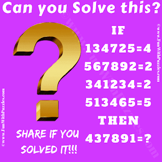 If 134725=4, 567892=2, 341234=2, 513465=5 Then 437891=?