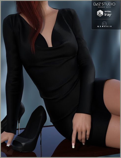 DAZ 3D - Cowl Neck Dress and Heels for Genesis 3 Female