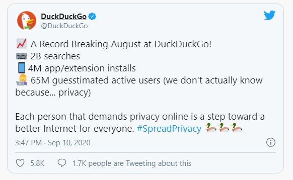 DuckDuckGo on Twitter