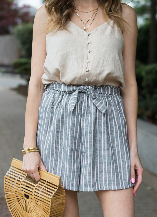 High Waisted Tie Front Shorts #summeroutfit #tiefrontshorts