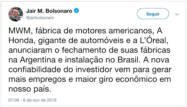 Bolsonaro comemora fechamento de fábrica da Honda na Argentina e transferência para o Brasil